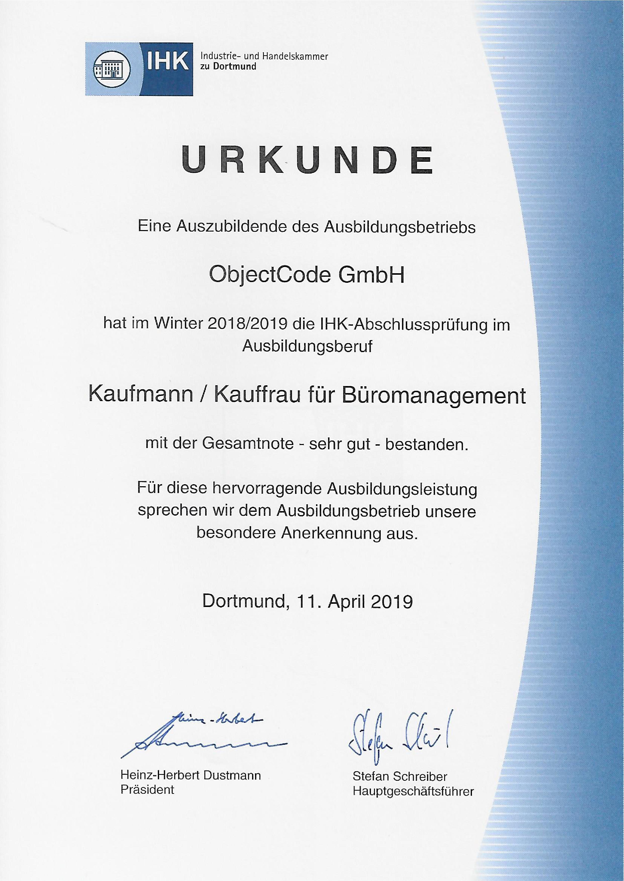 Urkunde der IHK für die ObjectCode GmbH