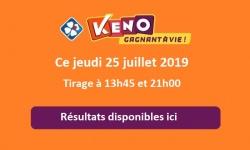 resultat keno jeudi 25 juillet 2019