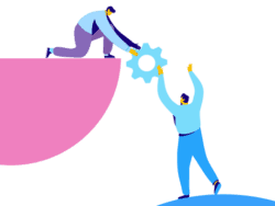Illustration of man passing cog to another man - showing creative thinking