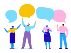 Image shows illustration of several colleagues with speech bubbles over their heads showing an example of how people communicate with others.