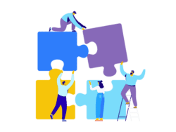 Image shows illustration of people using lateral thinking by using ladders to put together an oversized jigsaw.