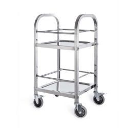 SOGA 2 Tier 500x500x950 Stainless Steel Square Tube Drink Wine Food Utility Cart