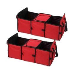 SOGA 2X Car Portable Storage Box Waterproof Oxford Cloth Multifunction Organizer Red