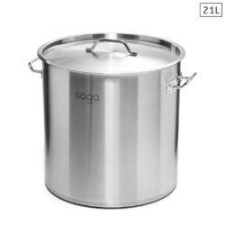 SOGA Stock Pot 21L Top Grade Thick Stainless Steel Stockpot 18/10