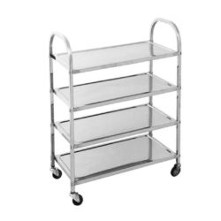 SOGA 4 Tier 950x500x1220 Stainless Steel Kitchen Dining Food Cart Trolley Utility