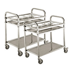 SOGA 2X 2 Tier Stainless Steel 8 Compartment Kitchen Seasoning Car Service Trolley Condiment Holder Cart Spice Bowl