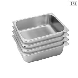 SOGA 4X Gastronorm GN Pan Full Size 1/2 GN Pan 10cm Deep Stainless Steel Tray