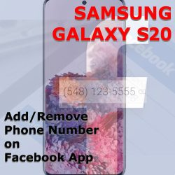 add remove phone number on facebook galaxy s20