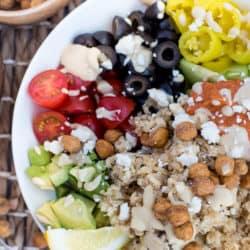 Instant Pot Mediterranean Quinoa Bowl with Lemon Garlic Chicken