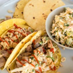 Instant Pot Thai Pork Tacos with Sriracha Coleslaw