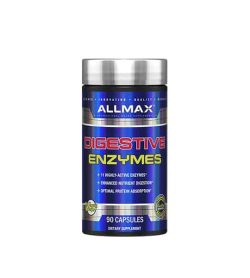 Shiny blue bottle with silver cap of Allmax Digestive Enzymes containing 90 capsules of dietary supplement