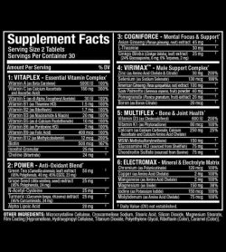 Supplement facts and ingredients panel of Allmax Nutrition Vitaform shows white text in black background