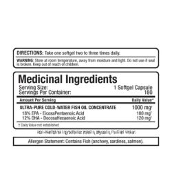 Medicinal ingredients panel of Allmax Omega-3 for a serving size of 1 softgel capsule with 180 servings per container
