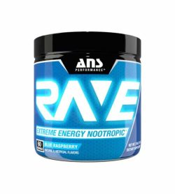 Blue container with black cap of ANS Performance RAVE extreme energy nootropic with blue raspberry flavour contains 60 servings
