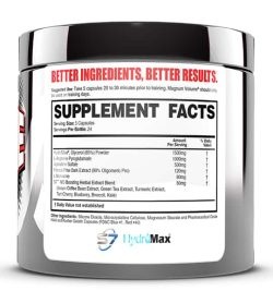 Supplement facts and ingredients panel of Magnum Volume Pump Intensifier for serving size of 5 capsules with 24 servings per bottle