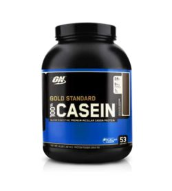 Black and blue container with black lid of ON Optimum Nutrition 100% Casein Gold Standard contains 4 lbs 53 servings