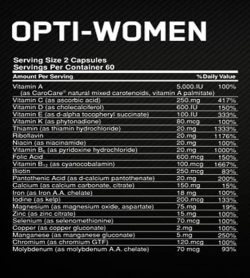 Nutrition facts panel of Optimum Nutrition Opti-Women for serving size of 2 capsules with 60 servings per container