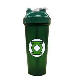 Green bottle with green and white lid of Perfect Shaker Green Lantern shown in white background