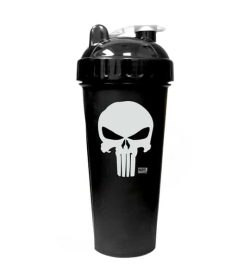 Black bottle with black and white lid of Perfect Shaker Punisher shown in white background