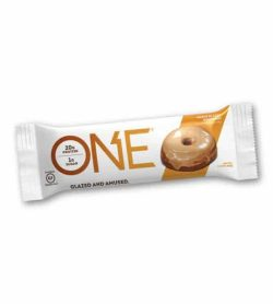 White and brown pouch of One Protein Bar Box Maple Donut Glazed contains 20 g protein and 1 g sugar
