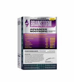 Silver and purple box of Athletic Alliance Brainstorm v2.0 Advanced Nootropic performance promise
