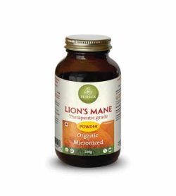 Brown bottle with shiny lid of Purica Lion's Mane Therapeutic grade powder contains 100 g organic micronized