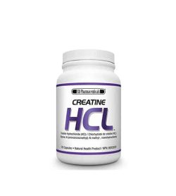 White bottle with white cap of SD Pharmecuticals Creatine HCL contains 120 capsules natural health product