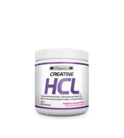 White and purple container with white cap of SD Pharmaceuticals Creatine HCL with Raspberry Lemonade Flavour
