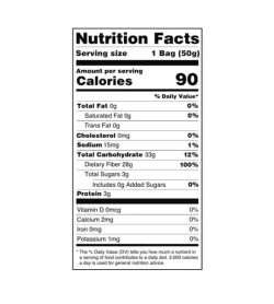 Nutrition facts panel of Smart Sweets Fruity Gummy Bears for serving size of 1 bag (50 g)