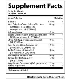 Supplement facts and ingredients panel of Nutrabolics Thermal XTC Fat Burner for serving size of 3 capsules with 30 servings per container