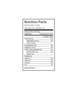 Nutrition facts panel of Walden Farms Thick and Spicy BBQ Sauce for serving size 2 tbsp with 12 servings per container
