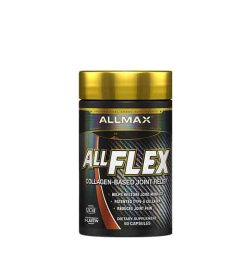 Black container with gold cap of Allmax AllFlex Collagen-Based Joint Relief contains 60 capsules
