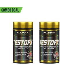 Combo deal 2 shiny black bottles with gold caps of Allmax TestoFX Amplify Testosterone Naturally dietary supplements