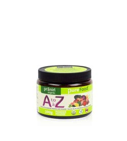 Bottle with black cap and green label of PraninOrganic PureFood AtoZ powder contains 300g