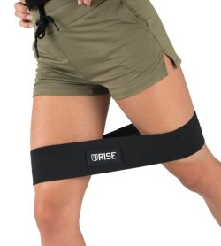 Women exercising with black Rise Hip Resistance Band shows how to use the resistance band