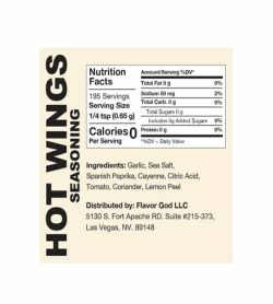 Nutrition facts and ingredients panel of Flavor God Seasonings Hot Wings