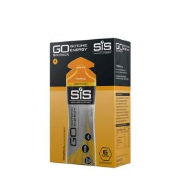 Orange and black box of GO Isotonic Energy 6 pack shown in white background