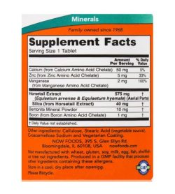 Supplement facts and ingredients panel of NOW Silica Complex 500mg 90 tabs