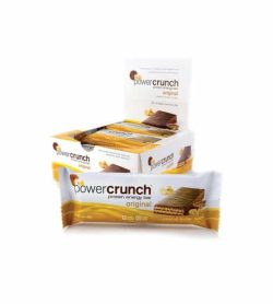 White and yellow box of Power Crunch Protein Energy Bar Original shown along with a pouch of bar outside