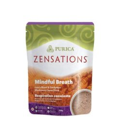 Green and Brown package of Purica Zensations Mindful Breath Lion's Mane & Cordycaps Mushroom Cacao Drink