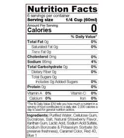 Nutrition facts and ingredients panel of Sinfit Strawberry Syrup 12 oz