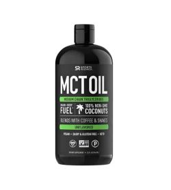 Black bottle of Sports Research MCT OIL medium chain triglycerides 100% non-gmo coconuts unflavoured