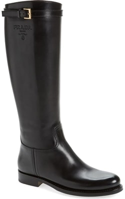 Best designer shoes - Prada knee high riding boot | 40plusstyle.com