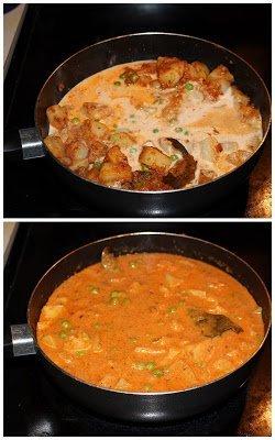 Aloo Mutter in smooth gravy No onion no garlic