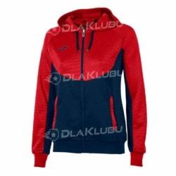 Bluza z kapturem damska JOMA Essential czerwono-czarna