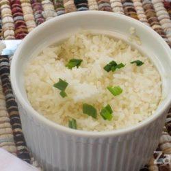 baked rice in a white ramekin