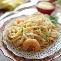 Shrimp Fettuccine For One | One Dish Kitchen