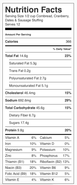 Cornbread Sausage Stuffing Nutrition Label. Each serving is about 1/2 cup.