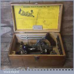 Vintage Boxed Record No: 405 Combination Plough Plane 22 Cutters - Fully Refurbished