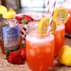 strawberry lemonade in mason jar